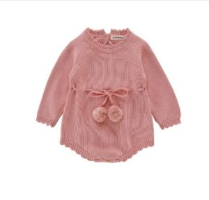 Autumn Female Babies Long-sleeved Knitted Wool Jumpsuit Ribbon Romper, Size:80cm(Pink)