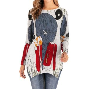 Printed Round Neck Long-sleeved Wool Knit T-shirt (Color:Red Size:L)