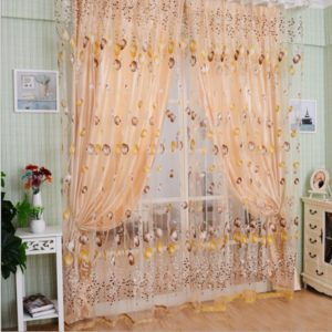 Tulip Print Curtain Bedroom Living Room Balcony Tulle Sunshade Curtain, Size:100x200CM With Bead(Orange)