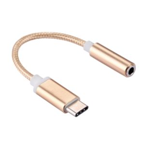 USB-C / Type-C Male to 3.5mm Female Weave Texture Audio Adapter, For Galaxy S8 & S8 + / LG G6 / Huawei P10 & P10 Plus / Oneplus 5 / Xiaomi Mi6 & Max 2 /and other Smartphones, Rechargeable Devices, Length: about 10cm(Gold)