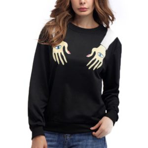 Arm Printed Round Neck Long Sleeve Loose Sweatshirt, Size:L(Black)