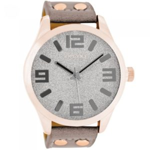 Ρολόι OOZOO Timepieces XXL Rose Gold Brown Leather Strap - C8470 C8470