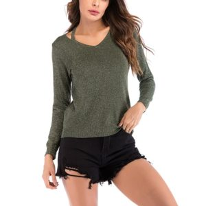 Autumn and Winter Solid Color Long-sleeved Pullover Sweater (Color:Green Size:L)