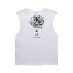 Summer Loose Cotton Sweat-absorbent Text Printing Couple Sleeveless Vest, Size: L(White)