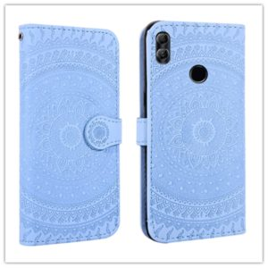 For Huawei Y6 2018 Pressed Printing Pattern Horizontal Flip PU Leather Case with Holder & Card Slots & Wallet & & Lanyard(Blue)