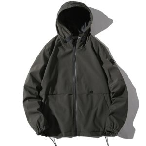 Hooded Youth Windproof Casual Trend Simple Jacket for Men (Color:Army Green Size:XL)