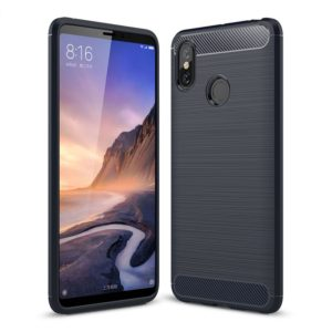Brushed Texture Carbon Fiber Shockproof TPU Case for Xiaomi Mi Max 3 (Navy Blue)