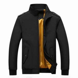 Solid Color Collage Long Sleeve Stand Collar Men Jacket (Color:Black Size:XL)