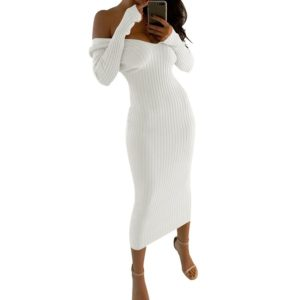 Sexy Strapless Dress Big V-neck Long-sleeved Dress (Color:White Size:L)