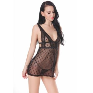 Women Sexy Hot Enticement Lace Dress Transparent Gauze Underwear with G-string(Black) (FunAdd)