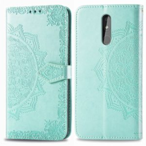 For Nokia 3.2 Halfway Mandala Embossing Pattern Horizontal Flip Leather Case with Holder & Card Slots & Wallet & Lanyard(Green)