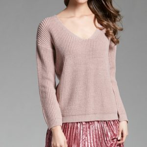 V-neck Pullover Personalized String Sexy Sweater, Size: XL(Light Pink)