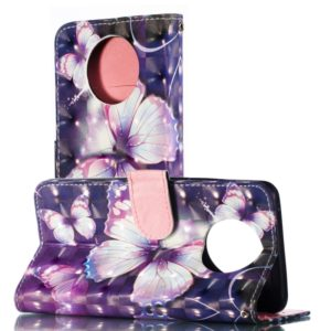 3D Pattern Colored Drawing Horizontal Flip Leather Case for Nokia 9 PureView , with Holder & Card Slots & Wallet & Lanyard(Purple Butterfly)