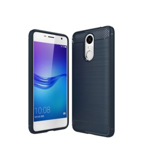 For Huawei Enjoy 6 Brushed Carbon Fiber Texture Shockproof TPU Protective Cover Case (navy)