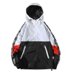 Autumn Winter Loose Hooded Assault Coat Men Large Size Jacket zipper Hooded Outwear Coat M(White)
