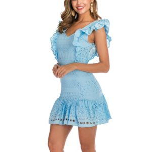 V-neck Openwork Wooden Ear Sleeveless Dress (Color:Baby Blue Size:XL)