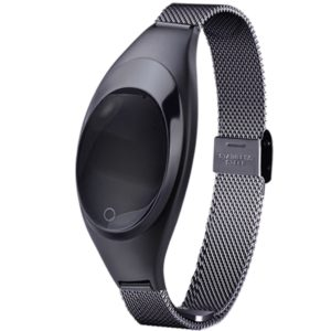 Z18 0.49 inch OLED Screen Bluetooth 4.0 Waterproof Smart Bracelet with Metal Wrist Strap & Touch Press Key & Blood Pressure / Heart Rate Monitor & Pedometer & Sleep Monitor & Call Reminder & SMS Information Push(Black)