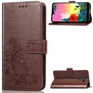 For LG K50S Four-leaf Clasp Embossed Buckle Mobile Phone Protection Leather Case with Lanyard & Card Slot & Wallet & Bracket Function(Brown)