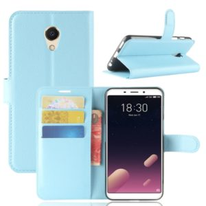 For Meizu Meilan M6s PU + TPU Litchi Texture Horizontal Flip Leather Case with Wallet & Holder & Card Slots (Blue)