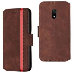 For Xiaomi Redmi 8A Retro Frosted Oil Side Horizontal Flip Case with Holder & Card Slots(Wine Red)
