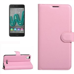 For Wiko U Feel Go Litchi Texture Horizontal Flip Leather Case with Holder & Card Slots & Wallet(Pink)