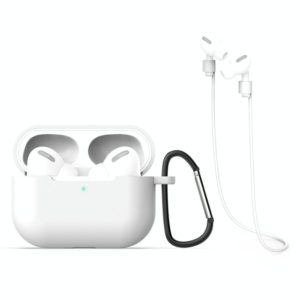 For AirPods Pro 3 in 1 Silicone Earphone Protective Case + Hook + Anti-lost Rope Set(White)