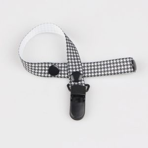2 PCS Baby Pacifier Clip Pacifier Chain Dummy Clip Nipple Holder For Nipples Children Pacifier Clips Teether Anti-drop Rope(62 Black and white houndstooth)