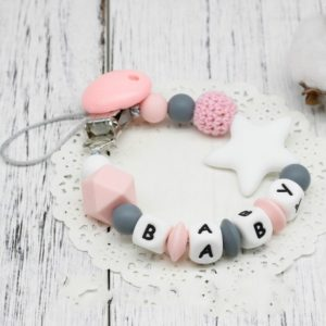 3 PCS DIY Silicone Baby Pacifier Clip Colorful Pacifier Chain(Pink)