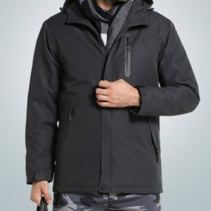 Autumn and Winter Men and Women Smart Heating Jacket Carbon Fiber Heating Travel Jacket, Size:XXXL(Men Charcoal Gray)