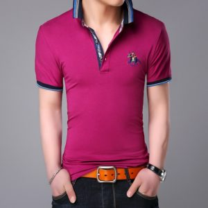 Fashionable Cotton Lapel Short-sleeve T-Shirt for Men, Size: M(Rose Red )