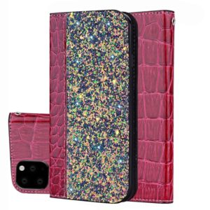 Crocodile Texture Glitter Powder Horizontal Flip Leather Case with Card Slots & Holder for iPhone 11(Red Wine)