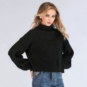 High Collar Long Sleeve Solid Color Lantern Sweater (Color:Black Size:One Size)
