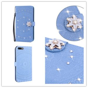 For iPhone 7 / 8 Pressed Printing Sticking Drill Pattern Horizontal Flip PU Leather Case with Holder & Card Slots & Wallet & & Lanyard(Blue)
