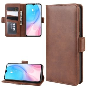 For Xiaomi CC9 Double Buckle Crazy Horse Business Mobile Phone Holster with Card Wallet Bracket Function(Brown)