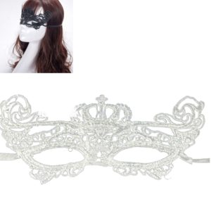 Halloween Masquerade Party Dance Sexy Lady Lace Crown Mask(White)