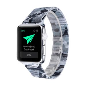 Print Milan Steel Wrist Watch Band for Apple Watch Series 3 & 2 & 1 38mm (Camouflage Black)