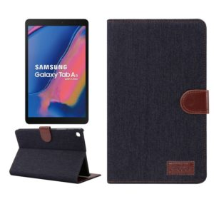 Denim Texture PC Horizontal Flip Leather Protective Case for Galaxy Tab A 8 (2019) P200 / P205 , with Holder & Card Slots & Wallet & Photo Frame(Black)