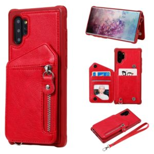 For Galaxy Note 10 Plus Dual Buckles Zipper Shockproof Back Cover Protective Case with Holder & Card Slots & Wallet & Lanyard & Photos Frames(Red)