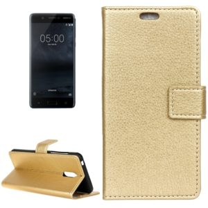 For Nokia 5 Litchi Texture Horizontal Flip Leather Case with Holder & Card Slots & Wallet & Photo Frame(Gold)