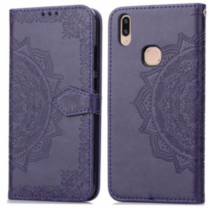 For Vivo V9 Embossed Mandala Pattern PC + TPU Horizontal Flip Leather Case with Holder & Card Slots(Purple)