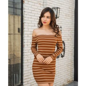 Off-the-shoulder Long Sleeve Stripes Dress (Color:Yellow Size:M)