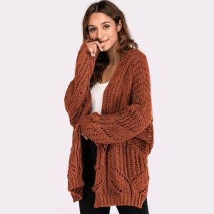 New V-neck Solid Color Long Sleeve Loose Sweater(Color:Brown Size:One Size)