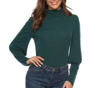 Pile Collared Lamb Leg Sleeves Long Sleeve T-shirt (Color:Green Size:XL)