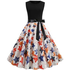 Sleeveless Print Elegant Party Dress (Color:White Size:XL)