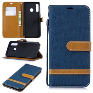 Color Matching Denim Texture Leather Case for Huawei P30 Lite, with Holder & Card Slots & Wallet & Lanyard(Dark blue)