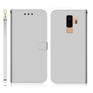 For Galaxy S9+ Imitated Mirror Surface Horizontal Flip Leather Case with Holder & Card Slots & Wallet & Lanyard(Silver)