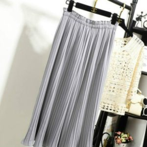 Spring Thin High Waist Ruffled Pleated Wide Leg Pants Female Chiffon Trousers, Size: One Size(Grey)