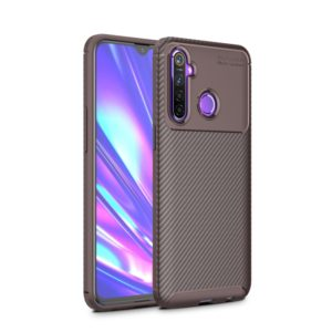 For OPPO Realme 5 Carbon Fiber Texture Shockproof TPU Case(Brown)