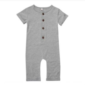 Spring Babies Cotton Short-sleeved Jumpsuits Romper, Size:90cm(Gray)