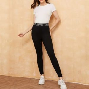 Slim Was Thin Casual Leggings Nine Points (Color:Black Size:L)